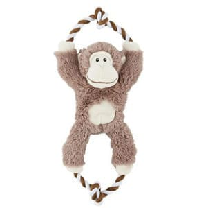 frisco plush with rope monkey squeaking dog toy