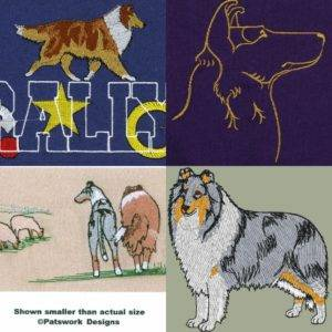 A collage showing 4 Collie embroidery designs: Smooth Collie profile outline, Rally sable merle Rough Collie, sable Rough and blue Smooth with a sheep herd, blue merle Rough.