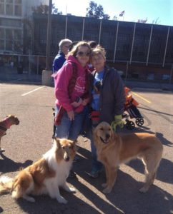 Two smiling women stand outside with a sable and white Collie and a Golden Retriever