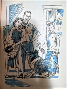 Jeff, fresh vegetables in hand, and a man in a collared shirt look on as Lassie tugs the apron strings of Jeff's mother