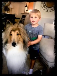 Asmall blond-haired young boy stands with his arms around Cody's neck
