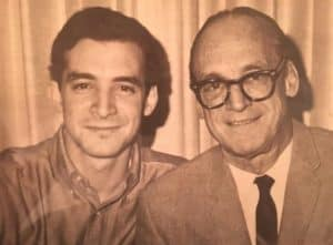 An old black and white photo of Jeff Hyman in his twenties beside his dad
