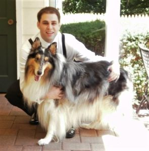 Ricky the blue merle Rough Collie poses wtih Jeff's son Scott at Scott's wedding