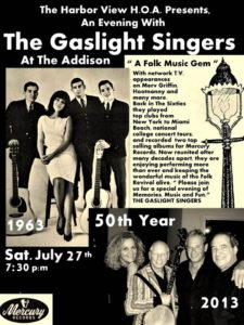 A photo shows The Gaslight Singers in 1963 versus them reunited in 2013