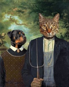 a mockup of the famous American Gothic painting but with a Rottweiler and a tabby cat