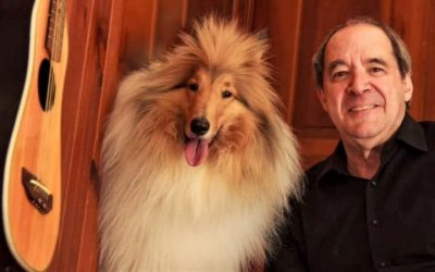Cody, a golden and white Rough Collie with spiky front bangs poses besides a guitar and his person Jeff, a man in a black collared shirt