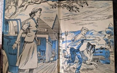 inner cover page of the book that shows Lassie running happily beside Jeff, a young teenage boy, while his mother looks on